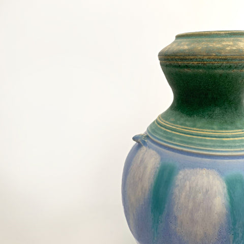 Detail of Symmetrical ceramic vessel with green upper and lower glazing and a center with blue and turquoise pattern with small handles by Richard Aerni at Cottage Curator - Sperryville VA Art Gallery
