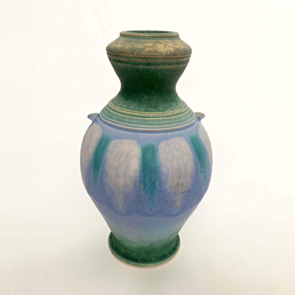 Symmetrical ceramic vessel with green upper and lower glazing and a center with blue and turquoise pattern with small handles by Richard Aerni at Cottage Curator - Sperryville VA Art Gallery