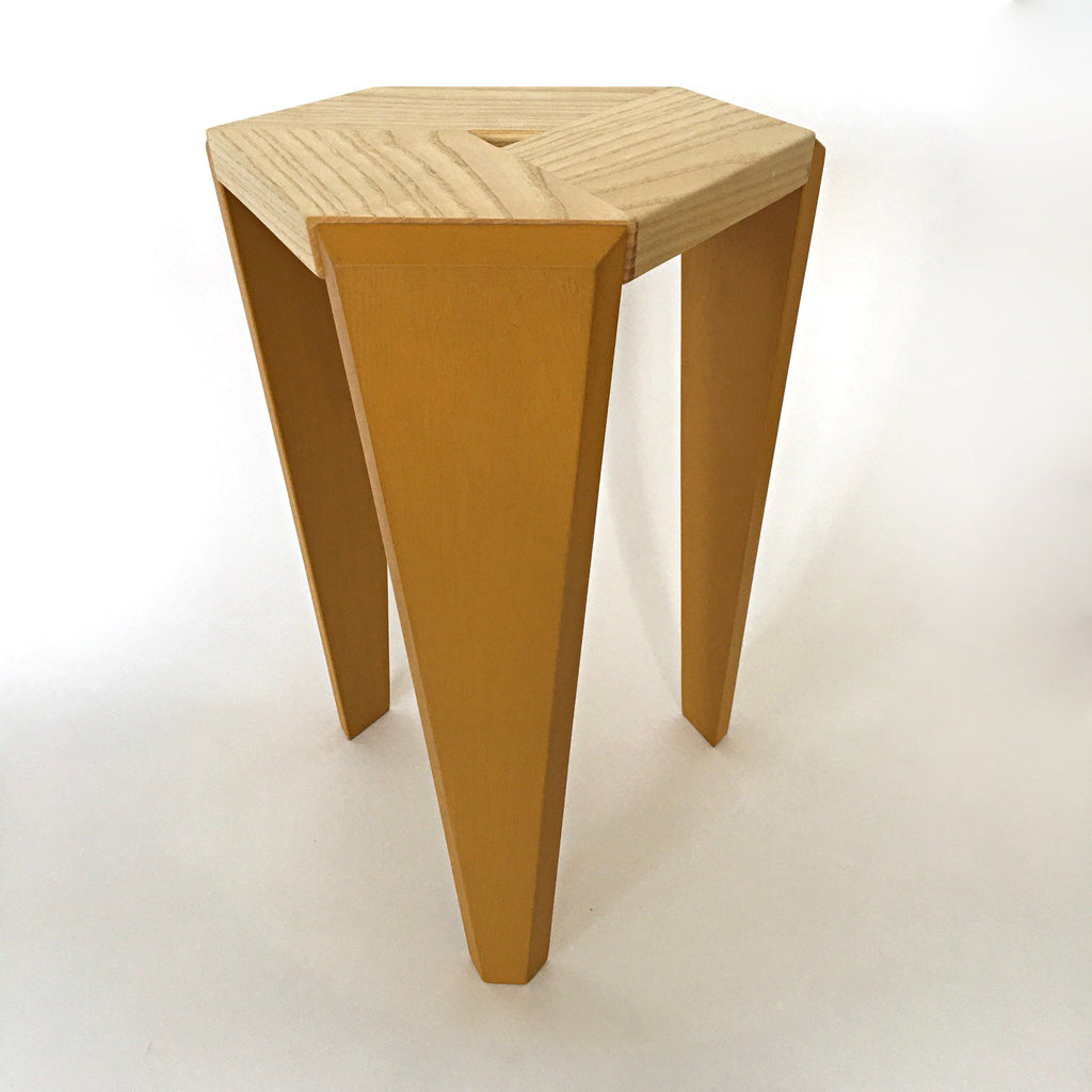 Three-legged hexagonal topped table by Christina Boy at Cottage Curator - Sperryville VA Art Gallery