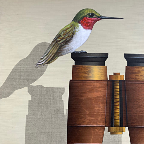 Detail of painting of a Ruby-throated hummingbird perched atop a pair of binoculars against a white background by James Carter at Cottage Curator - Sperryville VA Art Gallery