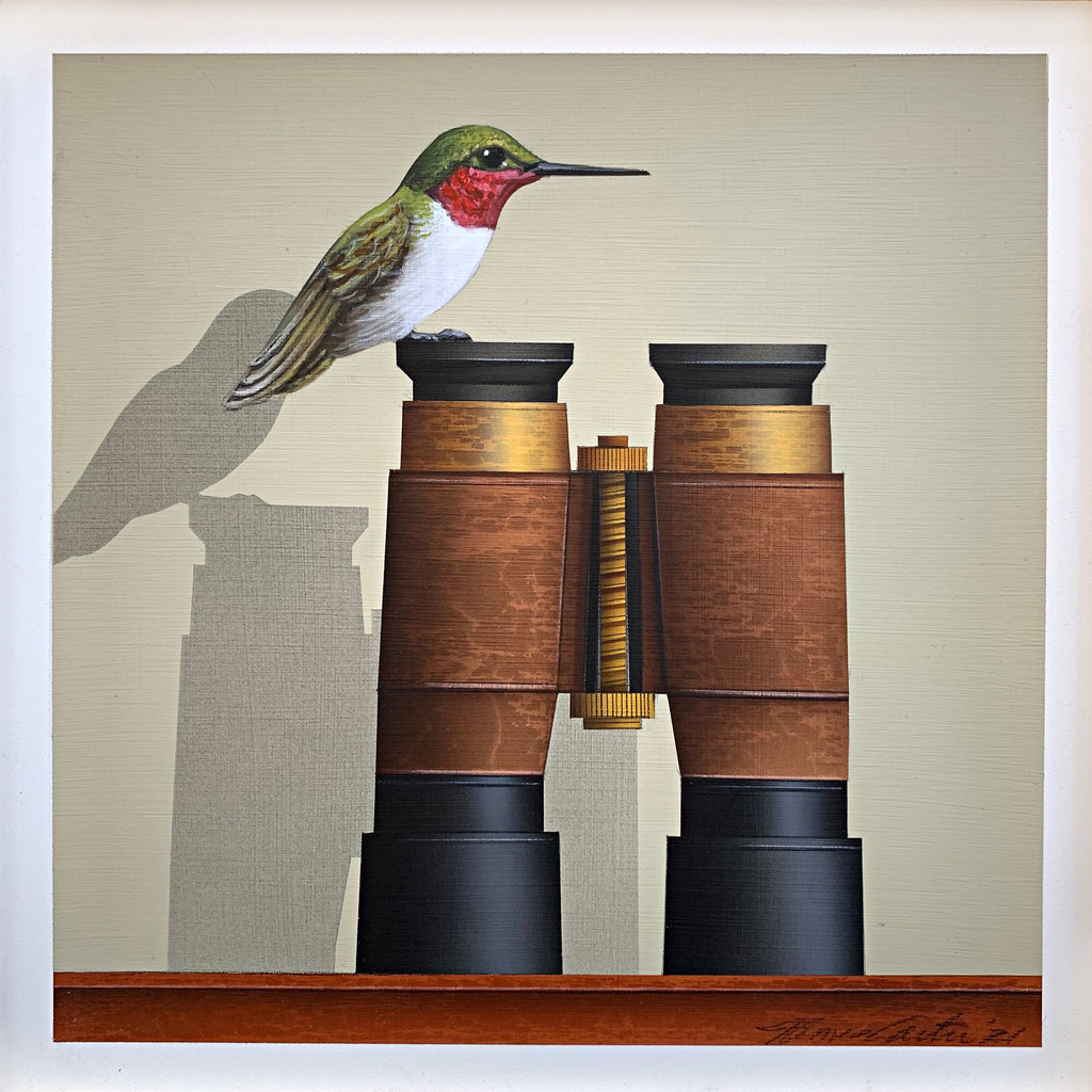 Painting of a Ruby-throated hummingbird perched atop a pair of binoculars against a white background by James Carter at Cottage Curator - Sperryville VA Art Gallery