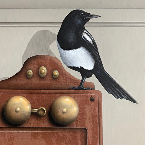 Detail of painting of a magpie perched atop an old wall-mounted rotary phone and desk by James Carter at Cottage Curator - Sperryville VA Art Gallery