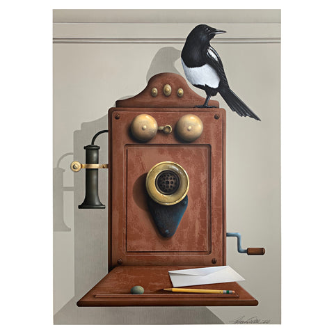 Painting of a magpie perched atop an old wall-mounted rotary phone and desk by James Carter at Cottage Curator - Sperryville VA Art Gallery