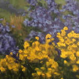 Detail of landscape with purple and yellow flowers by Kathy Chumley at Cottage Curator - Sperryville VA Art Gallery