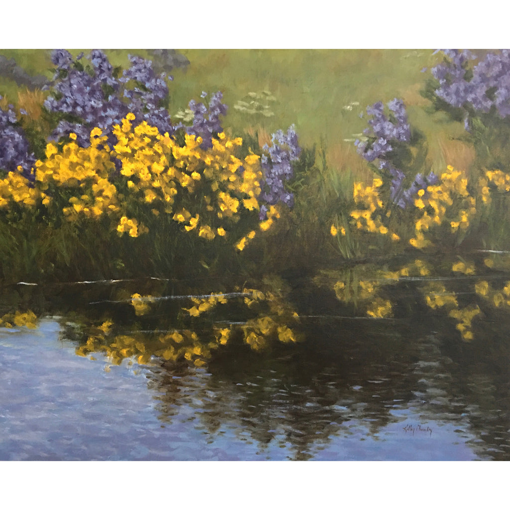 Landscape of purple and yellow flowers and their reflection in the water by Kathy Chumley at Cottage Curator - Sperryville VA Art Gallery