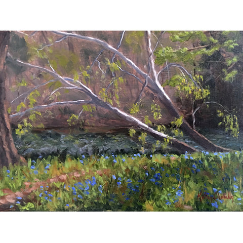 Forest scene painting of bluebell flowers with sycamore trees above by Kathy Chumley