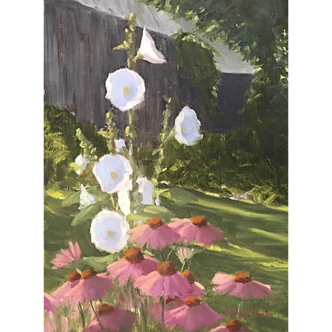 """Hollyhocks and Coneflowers"" Study"