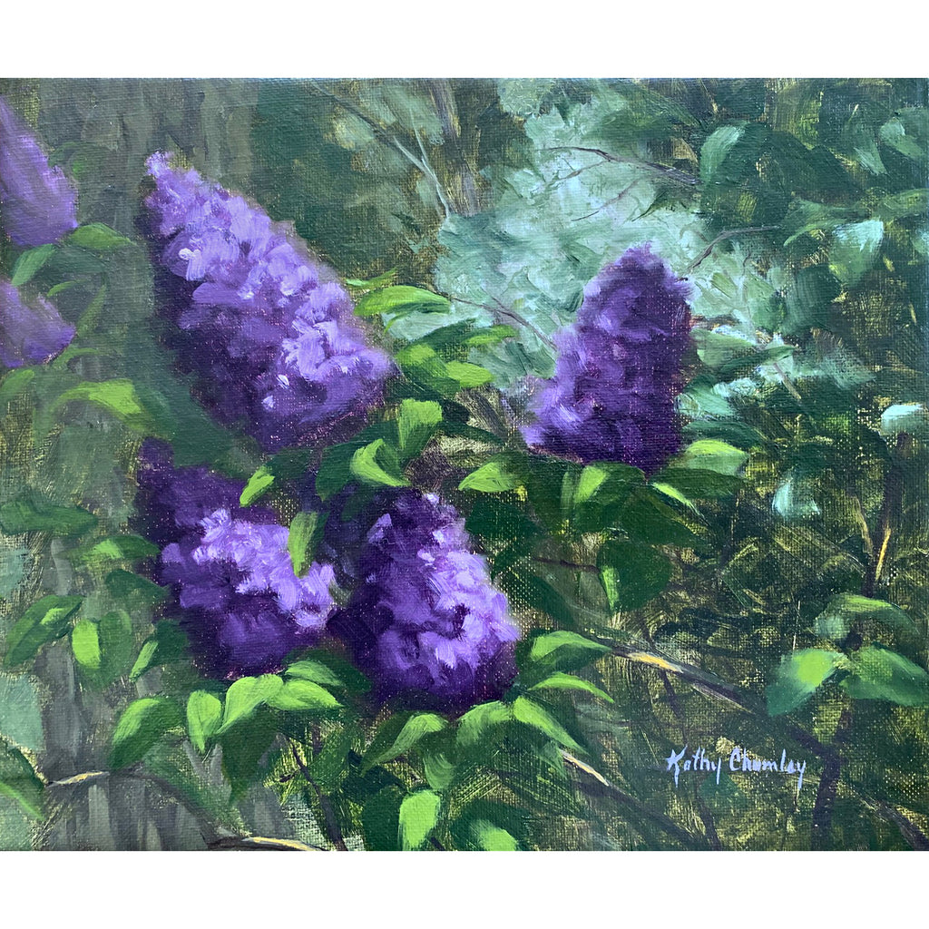 Painting of lilac bush with bright purple bunches against green leafy background by Kathy Chumley at Cottage Curator - Sperryville VA Art Gallery
