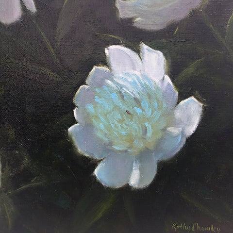 Painting of peony on a dark background by Kathy Chumley at Cottage Curator Sperryville VA