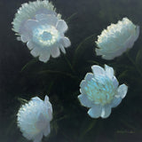 Painting of white peonies on a dark background by Kathy Chumley at Cottage Curator Sperryville VA