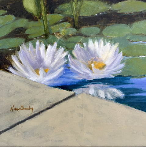 Detail of Oil painting of waterlilies in a pond by Kathy Chumley at Cottage Curator art gallery Sperryville VA