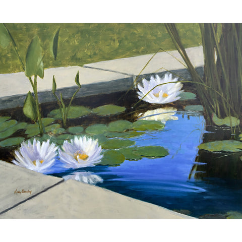 Oil painting of waterlilies in a pond by Kathy Chumley at Cottage Curator art gallery Sperryville VA