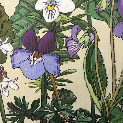 Detail of group of white and purple violets with green leaves against an ivory background - painting by Frances Coates at Cottage Curator, Sperryville VA Art Gallery