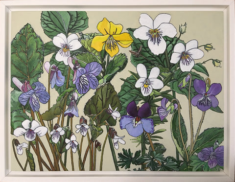 Group of white, yellow and purple violets with green leaves against an ivory background - painting by Frances Coates at Cottage Curator, Sperryville VA Art Gallery