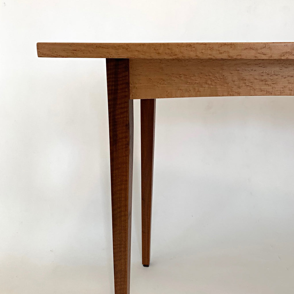 Maple and black walnut console table by fine furniture maker Lynn Pittinger at Cottage Curator Sperryville VA Art Gallery
