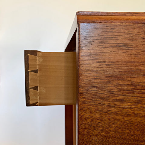 Detail view of drawer joints in mahogany dropleaf table by Lawrence Crouse at Cottage Curator - Sperryville VA Art Gallery