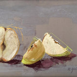 Detail of Pastel drawing of three green pears on a grey background once cut into pieces by artist Nancy Galloway