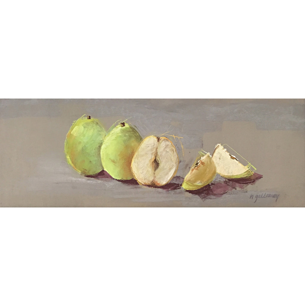 Pastel drawing of three green pears on a grey background once cut into pieces by artist Nancy Galloway