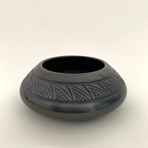 Black carved and raku fired, wheel thrown clay vessel by David Greenbaum at Cottage Curator - Sperryville VA Art Gallery