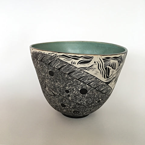 Bowl with black and white carving of a flounder on the exterior and jade green interior by Shirley Gromen at Cottage Curator - Sperryville, VA Art Gallery