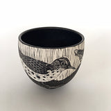 Black and white porcelain bowl with birds by Shirley Gromen at Cottage Curator art gallery - Sperryville VA