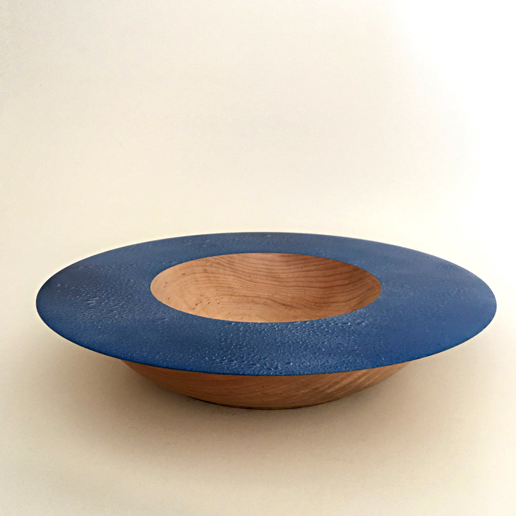 Shallow maple bowl with painted wide blue rim by Bob Silkensen at Cottage Curator - Sperryville VA