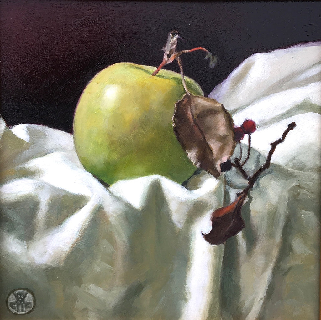Painting of green apple on white cloth with red berry branch by Davette Leonard at Cottage Curator Sperryville VA art gallery