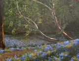Landscape painting of bluebells and sycamores by Kathy Chumley at Cottage Curator art gallery - Sperryville VA