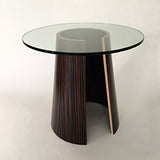 Rounded pedestal end table with glass top by Richard Judd at Cottage Curator - Sperryville VA Art Gallery