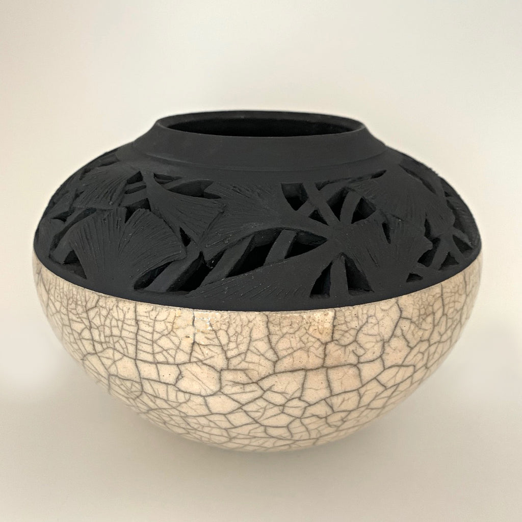 Ceramic vessel with white crackled lower and black carved upper section with ginkgo leaves by Akiko Koiso at Cottage Curator - Sperryville VA Art Gallery