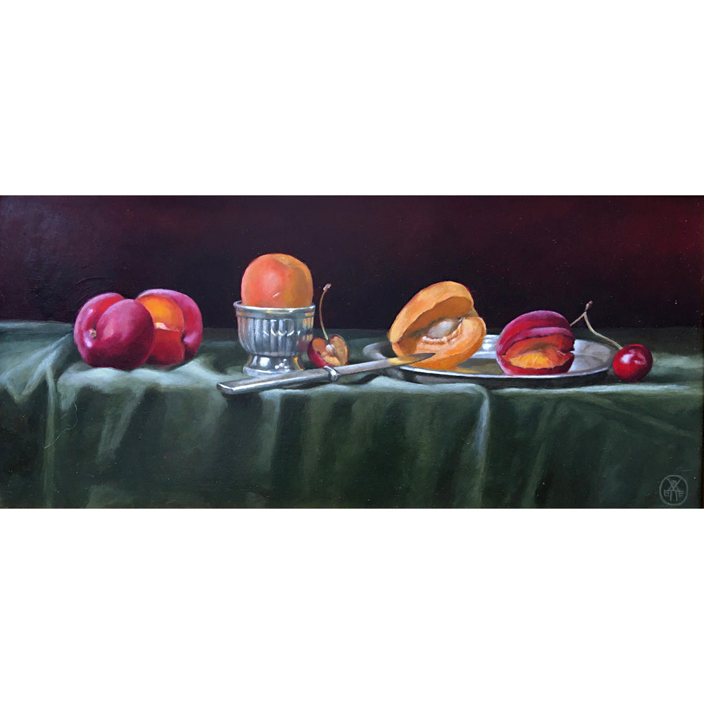 Long, narrow still life with green tablecloth against a dark red background and red and yellow apricots by Davette Leonard at Cottage Curator - Sperryville VA Art Gallery