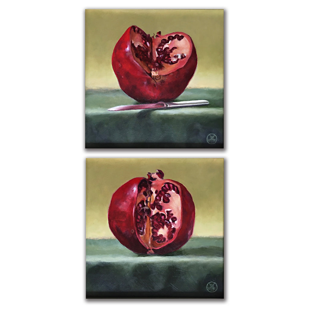 Vertical diptych of two pomegranates cut with a knife on a green table cloth by Davette Leonard at Cottage Curator art gallery Sperryville VA