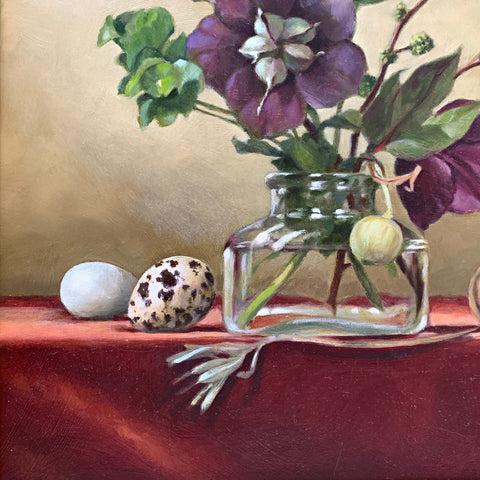 Hellebores and Quail Egg With Shell