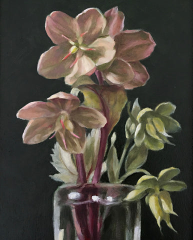 Detail of painting of hellebores in a vase against a black background by Davette Leonard at Cottage Curator - Sperryville VA Art Gallery
