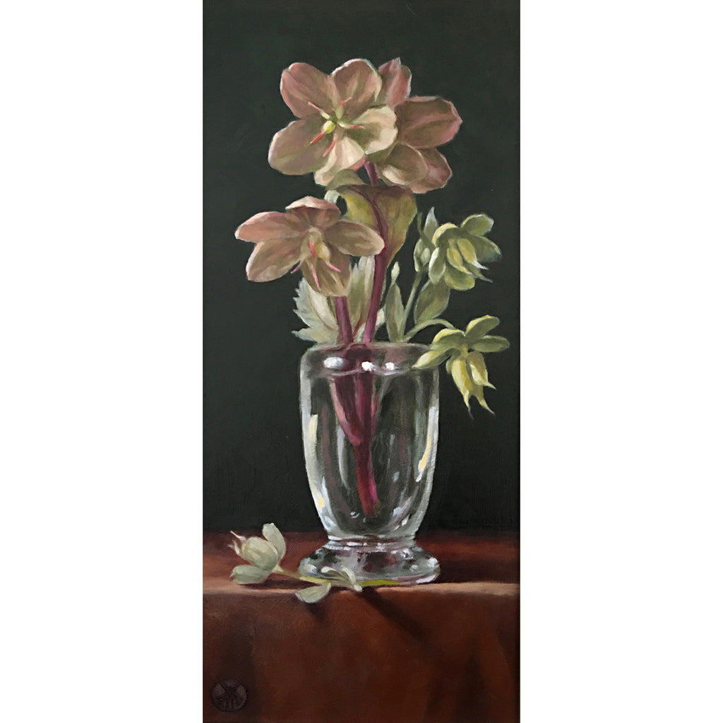Painting of hellebores in a vase on a rust-colored table cloth against a black background by Davette Leonard at Cottage Curator - Sperryville VA Art Gallery