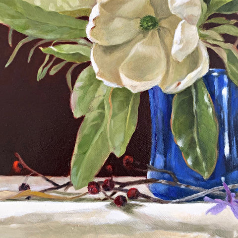 Detail of still-life painting of blue vase on with sweetbay magnolia and purple phlox against a red background by Davette Leonard at Cottage Curator - Sperryville VA Art Gallery