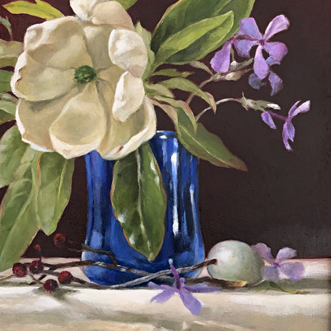 Detail of still-life painting of blue vase on white table cloth with sweetbay magnolia and purple phlox against a red background by Davette Leonard at Cottage Curator - Sperryville VA Art Gallery