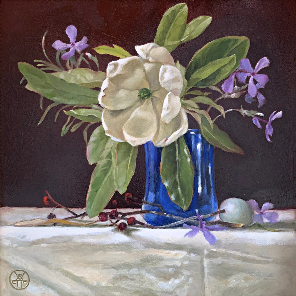 Still life painting of blue vase on white table cloth with sweetbay magnolia and purple phlox against a red background by Davette Leonard at Cottage Curator - Sperryville VA Art Gallery