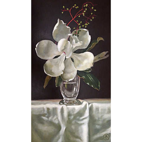 Painting of large white magnolia in a vase on a white tablecloth with red berries by Davette Leonard - Cottage Curator - Sperryville VA Art Gallery