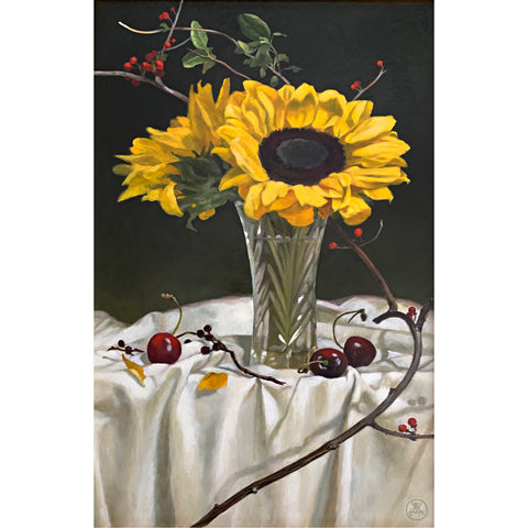 Sunflowers with Bittersweet and Cherries