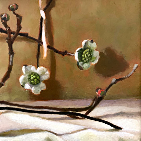 Detail of still life painting of sweetgum and dogwood on white cloth-covered tabletop by Davette Leonard at Cottage Curator - Sperryville VA Art Gallery