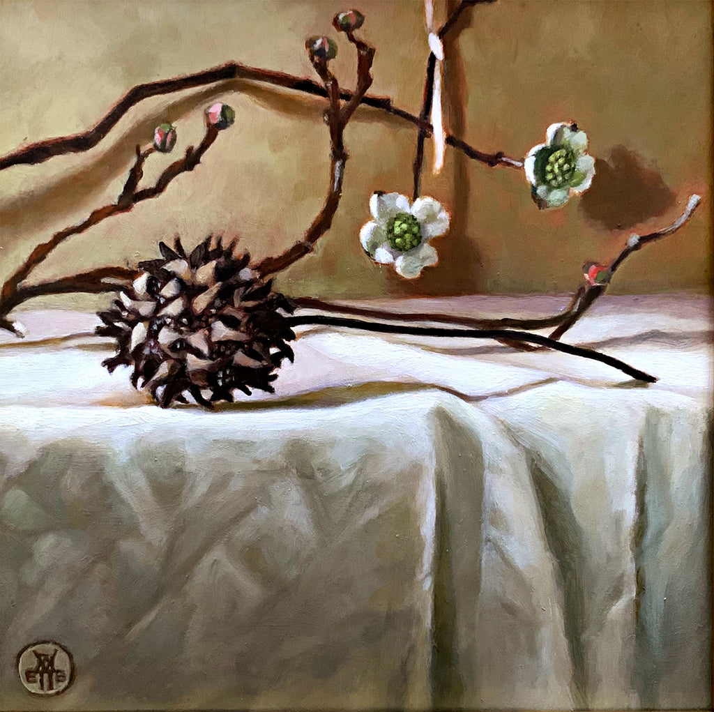 Still life painting of sweetgum and dogwood on white cloth-covered tabletop by Davette Leonard at Cottage Curator - Sperryville VA Art Gallery