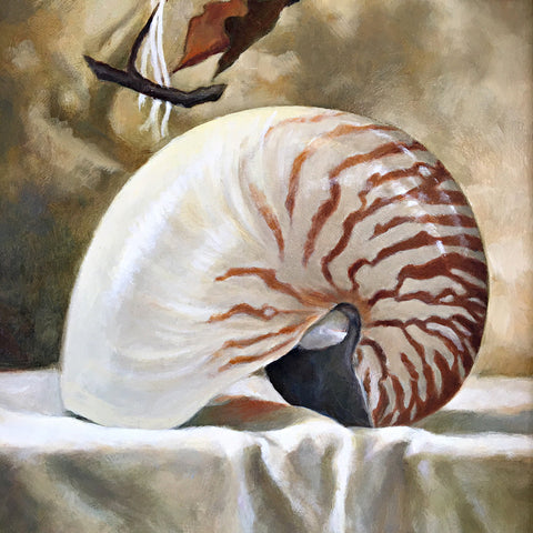 Painting of nautilus shell on white table cloth with dried leaves in background by Davette Leonard at Cottage Curator - Sperryville VA Art Gallery
