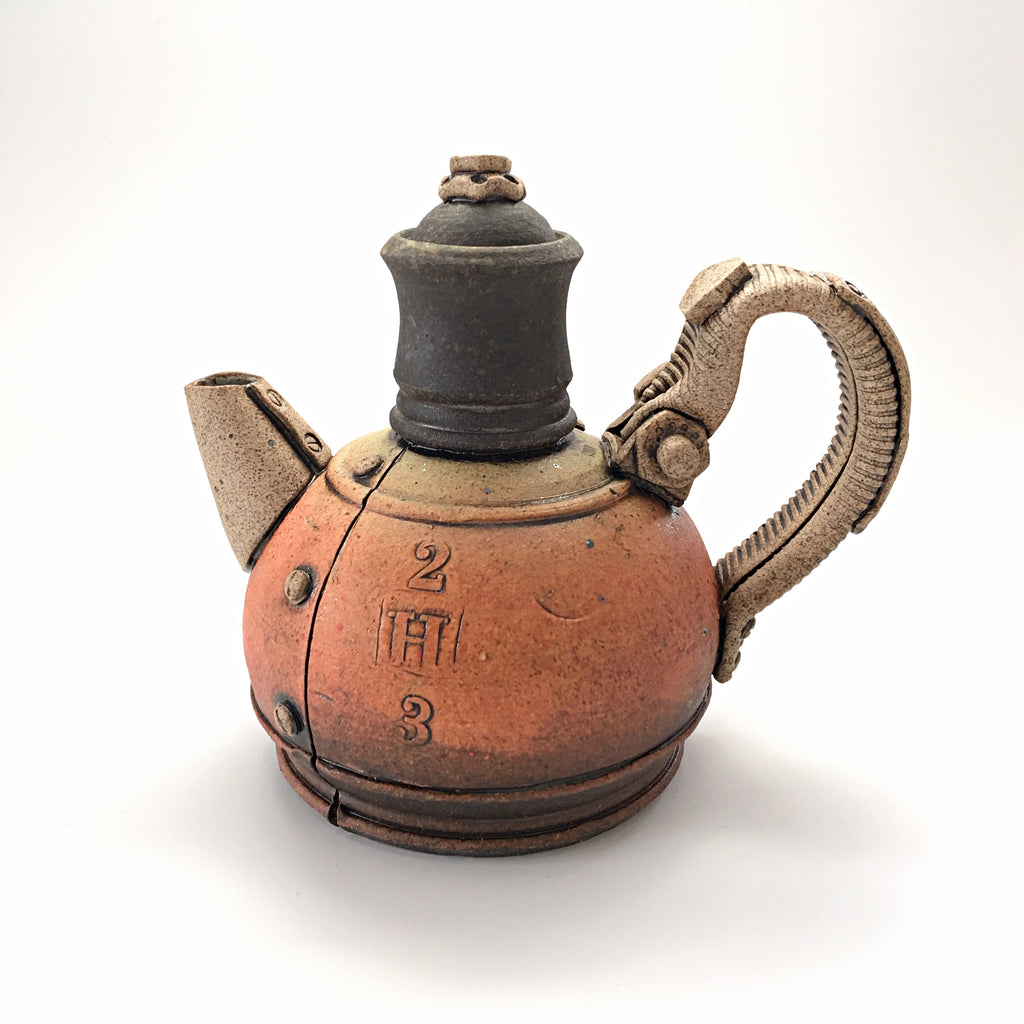 Industrial ceramic teapot with rivets by Steve Palmer