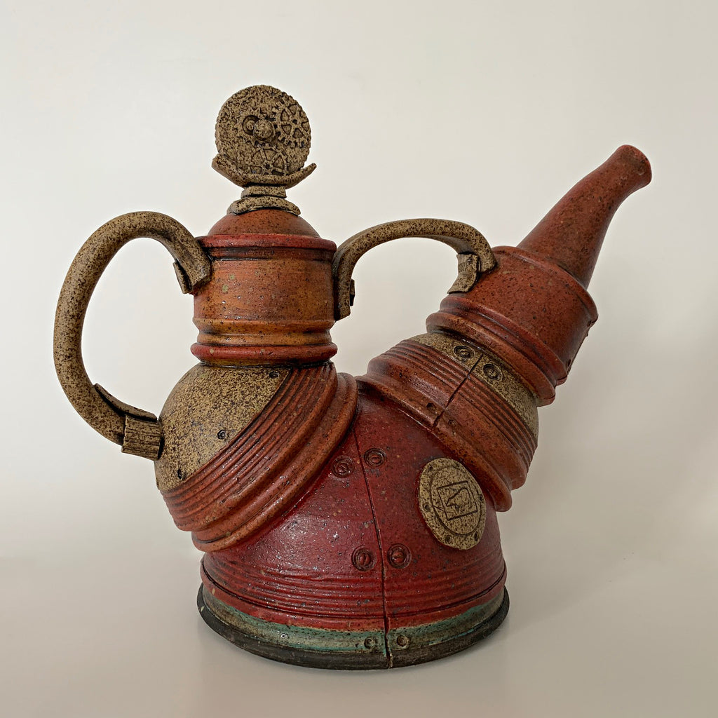 Red/orange clay teapot with mechanical, steampunk style by Steve Palmer at Cottage Curator - Sperryville VA Art Gallery