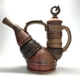 Ceramic teapot that appears to be made of jointed metal pieces by Steve Palmer at Cottage Curator art gallery in Sperryville Virginia
