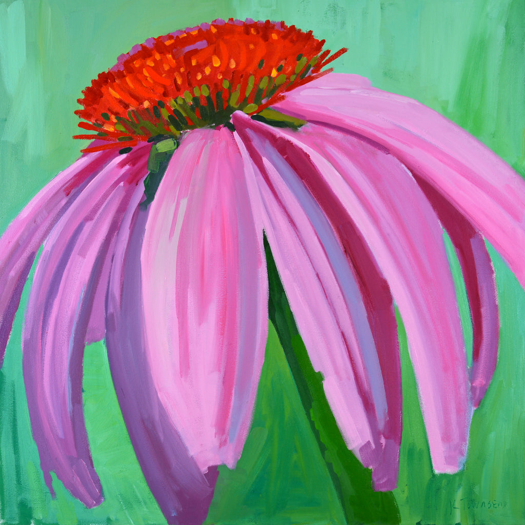 Painting of Echinacea (or Purple Coneflower) with pink/purple petals and orange center against a green background by Krista Townsend at Cottage Curator Art Gallery - Sperryville VA