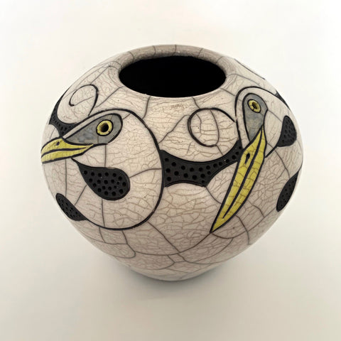 Wheel Thrown, carved, raku clay vessel in black, white and yellow with four egrets by Robin Rodgers at Cottage Curator - Sperryville VA Art Gallery