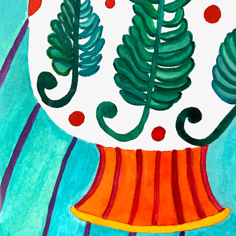 Detail of watercolor painting of vase decorated with ferns and an orange base on a striped green tablecloth by Sara Schneidman at Cottage Curator, Sperryville VA Art Gallery