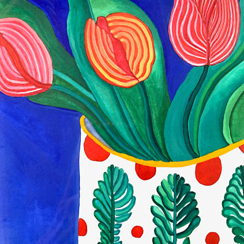 Detail of a watercolor painting of three tulips in a vase decorated with ferns against a royal blue background by Sara Schneidman at Cottage Curator, Sperryville VA Art Gallery